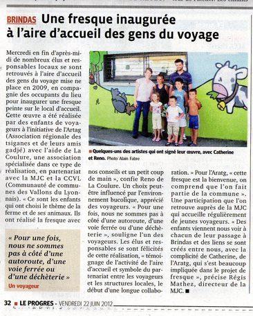 Le Progres 16-06-2012 Fresque Brindas