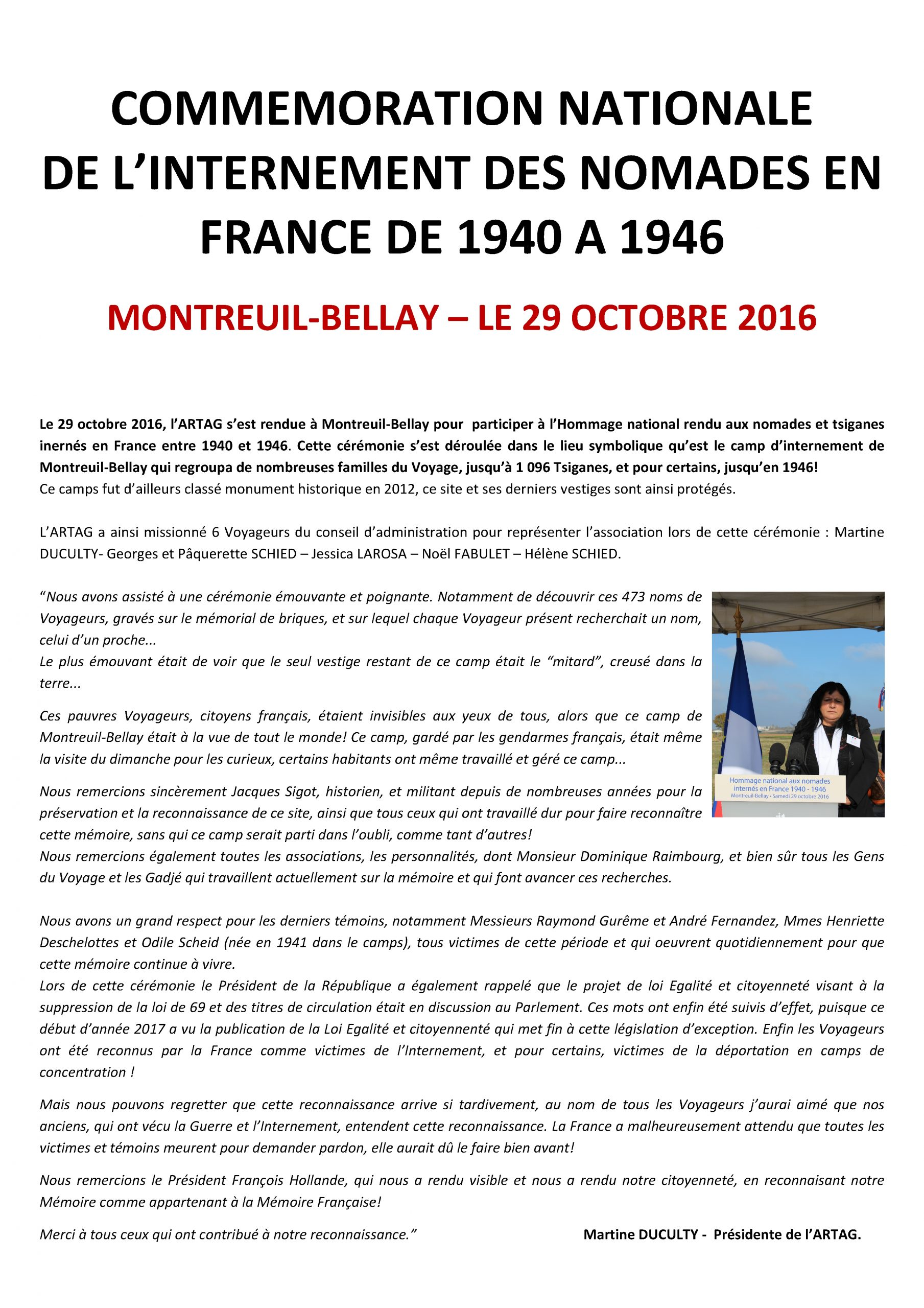 Commemoration Montreuil-Bellay Oct 2016